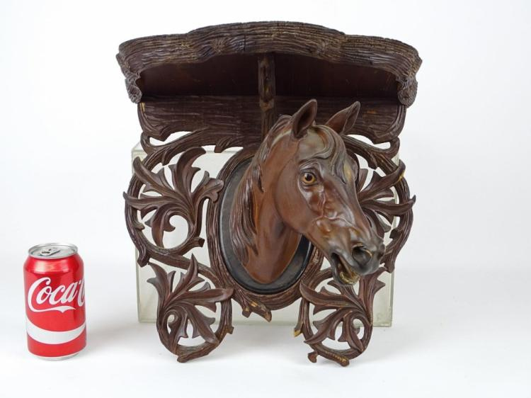 Carved Horse Head Shelf