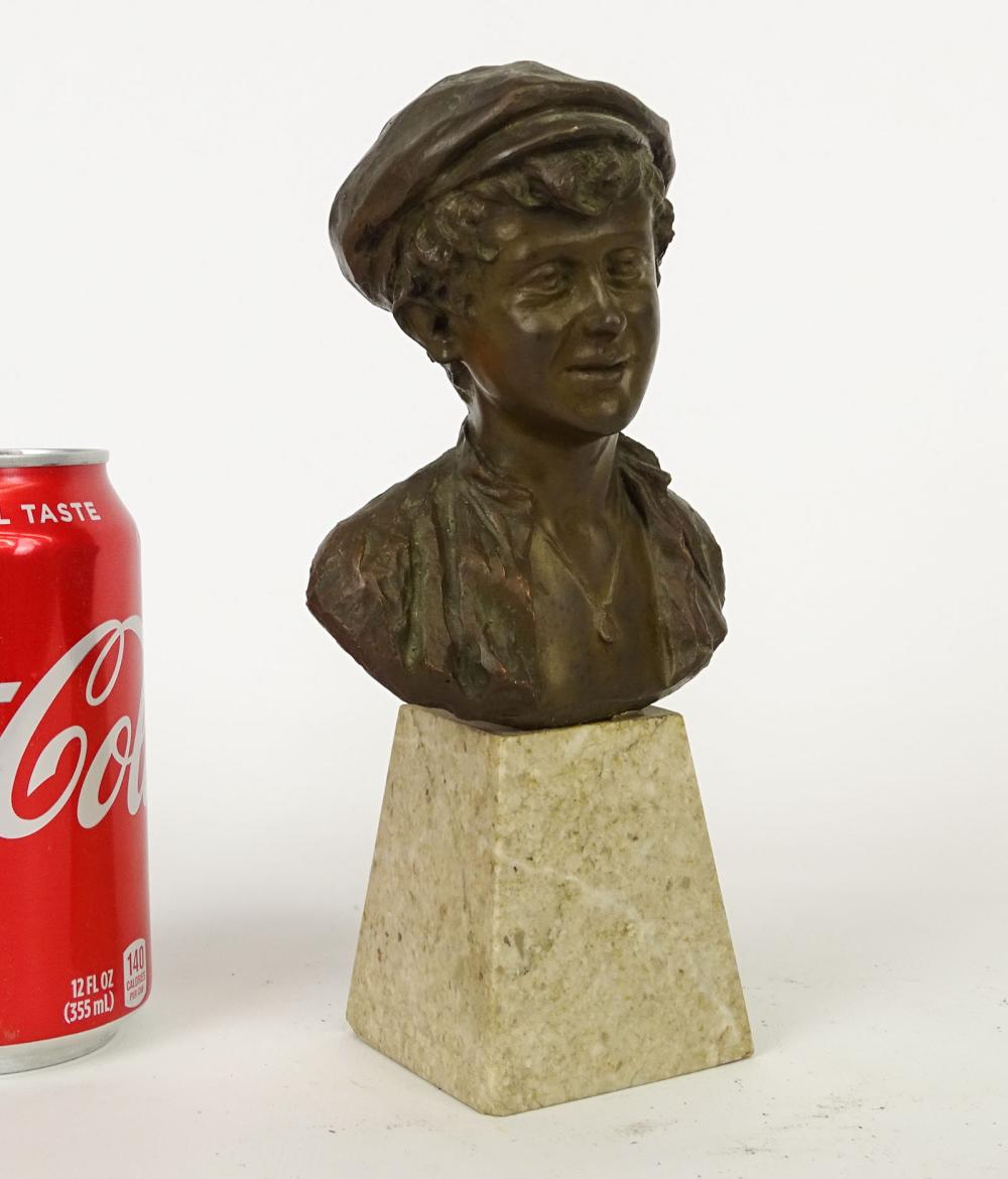 Early Bronze Of Boy With Hat