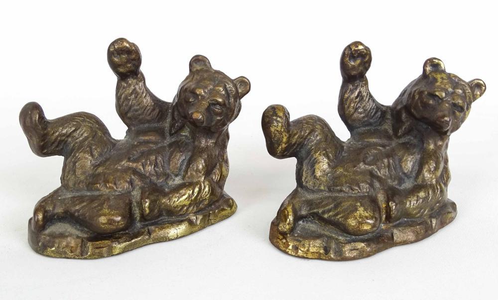 Pair Brass Bear Bookends