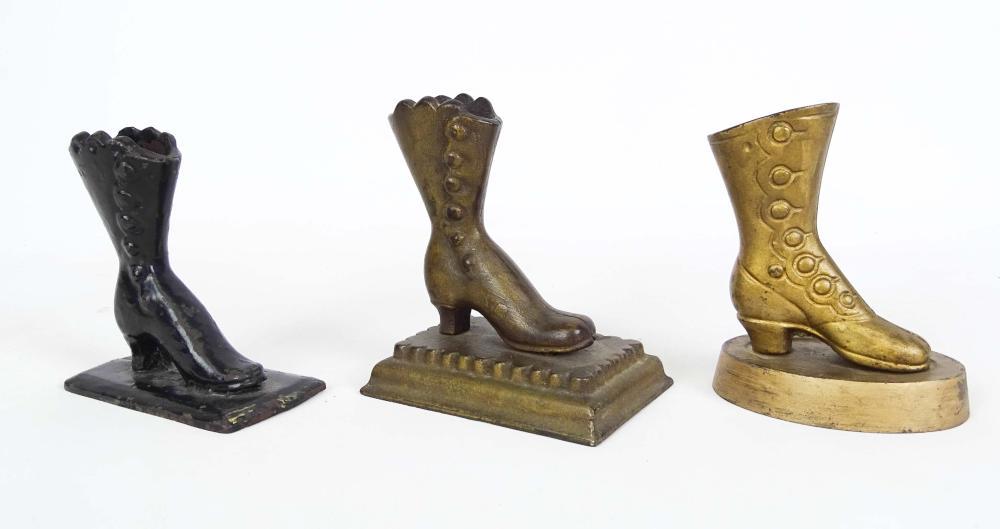 Victorian Cast Iron Shoe Match Stick Holders