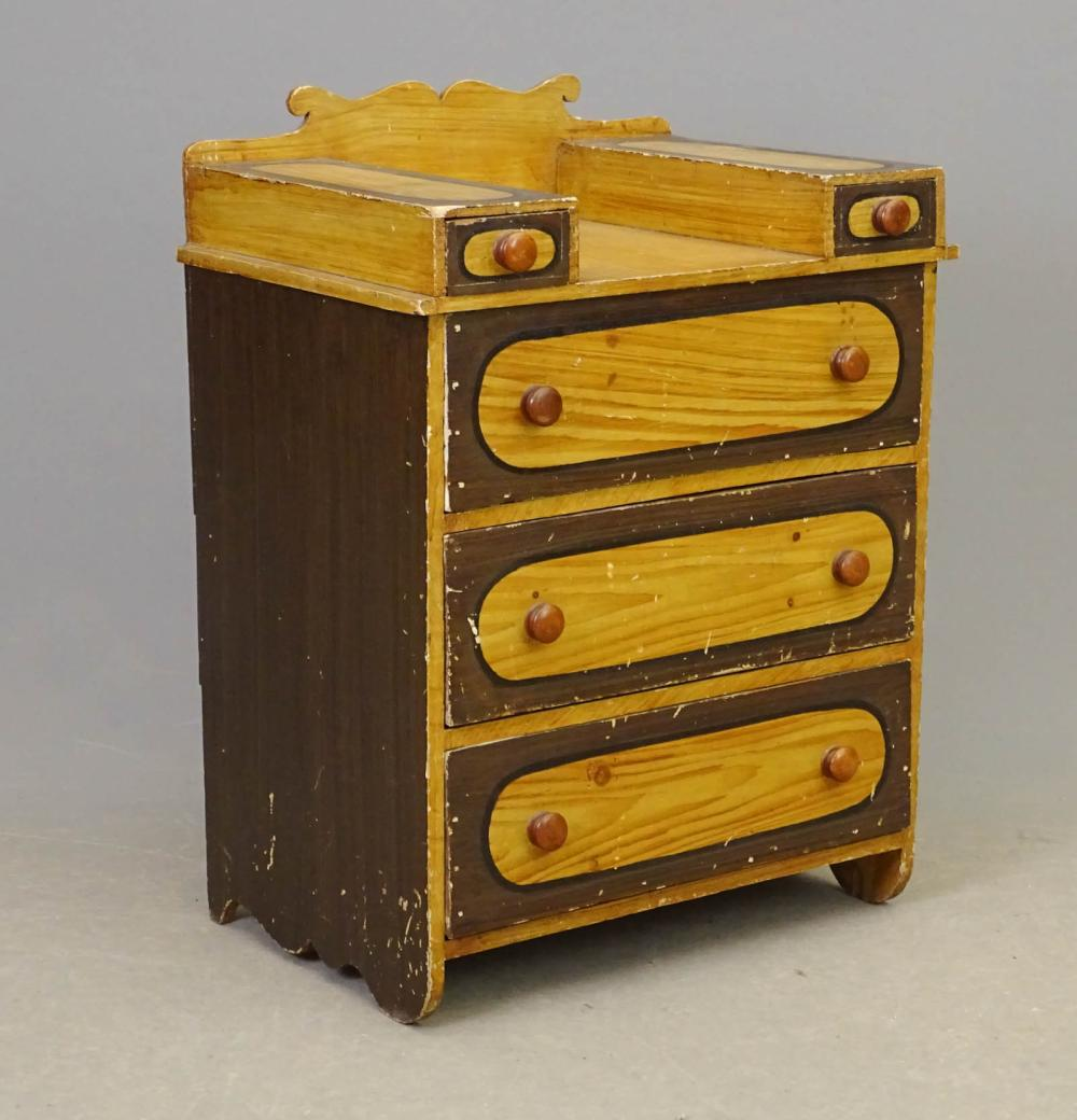 19th c. Painted Child's Chest Of Drawers