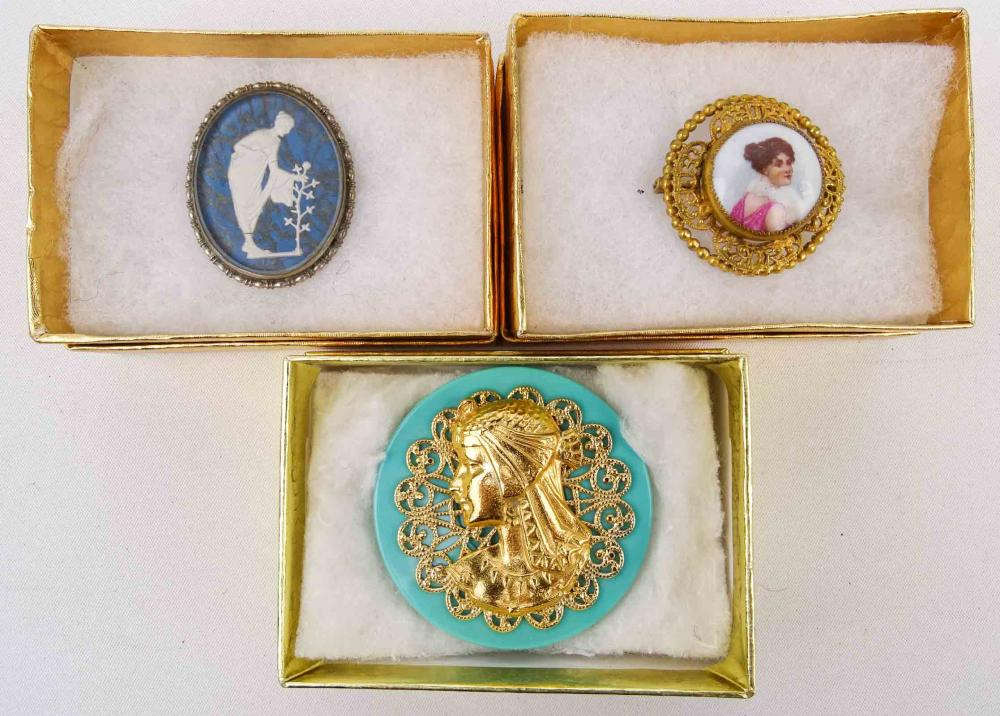 Lot 3 Early Cameo Pins