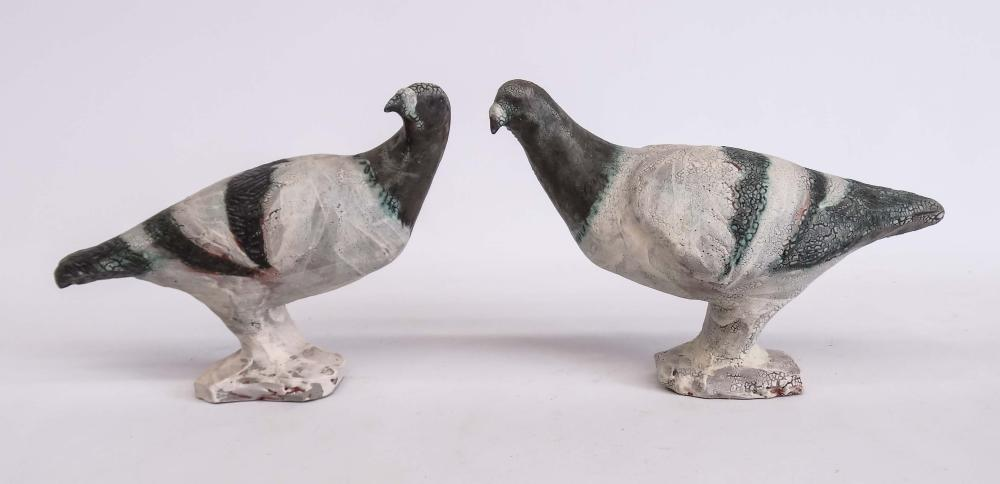 Pair Redware Pottery Birds
