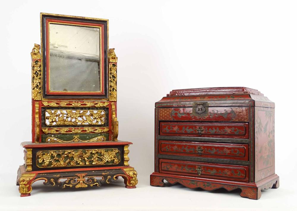 Asian Dresser Mirror & Box