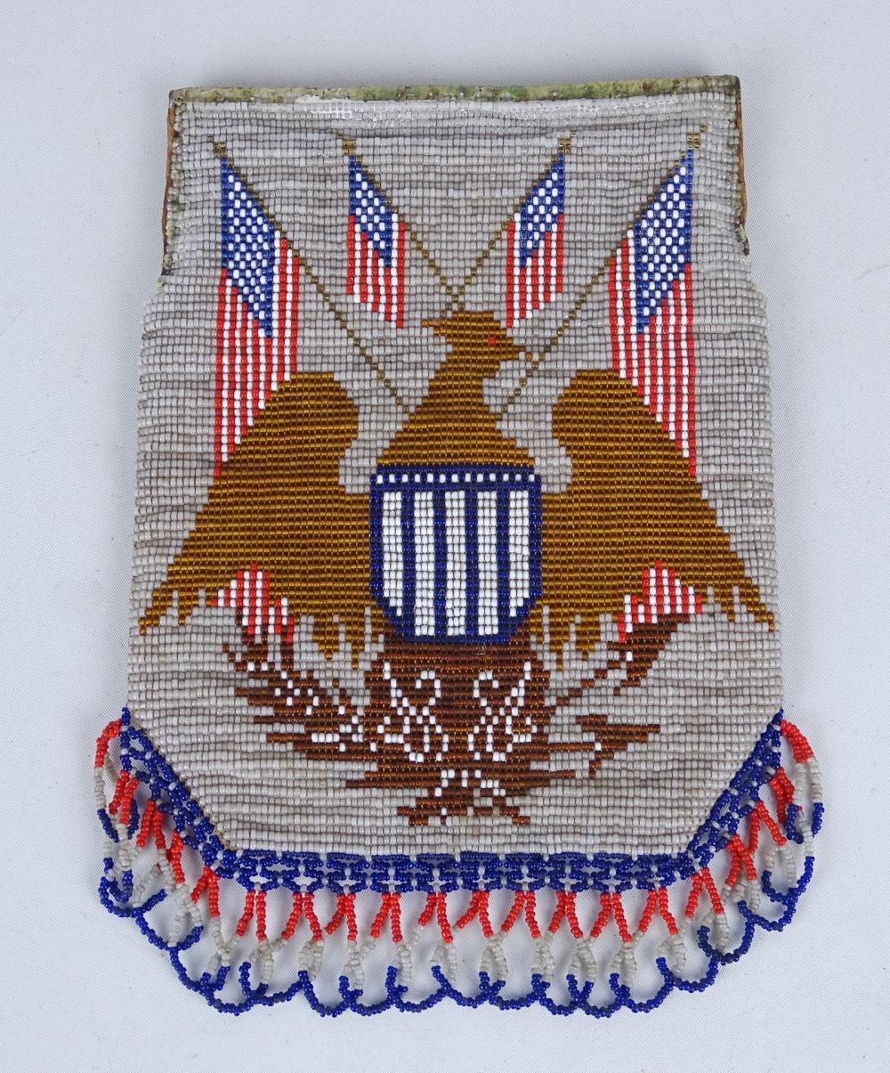 Early Patriotic Beaded Bag