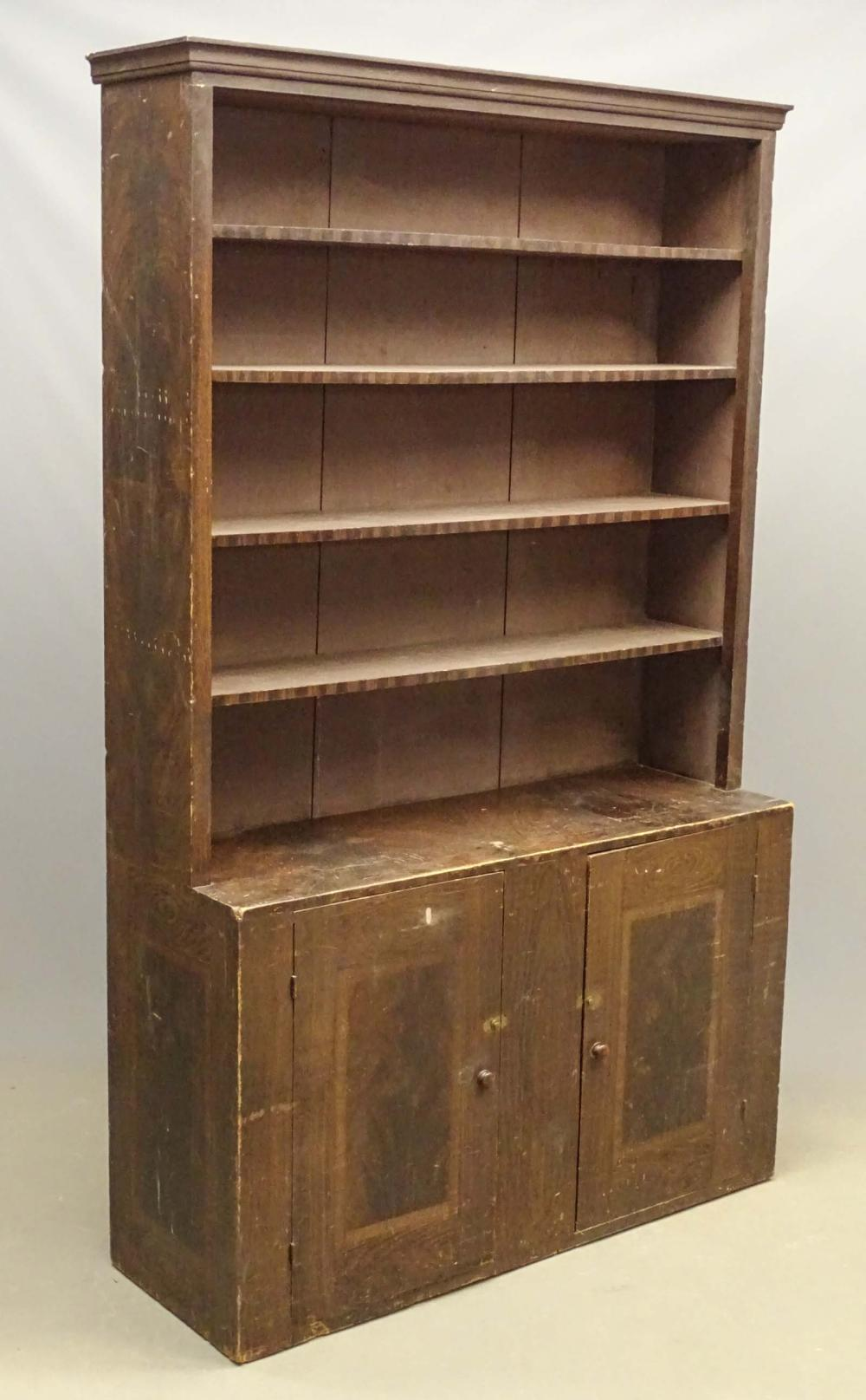 C. 1820's Grain Painted New England Cupboard