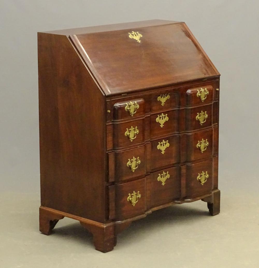 C. 1800's Block Front Mahogany Desk