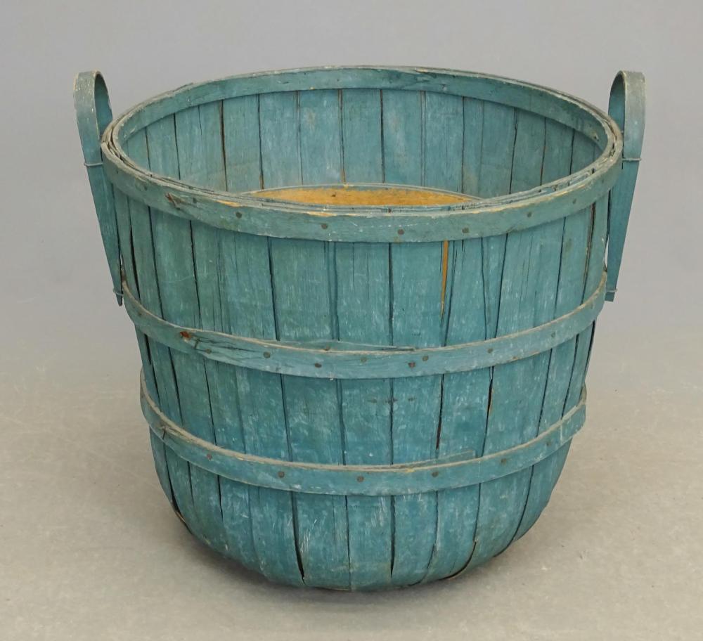 Large Gathering Basket In Old Blue Paint