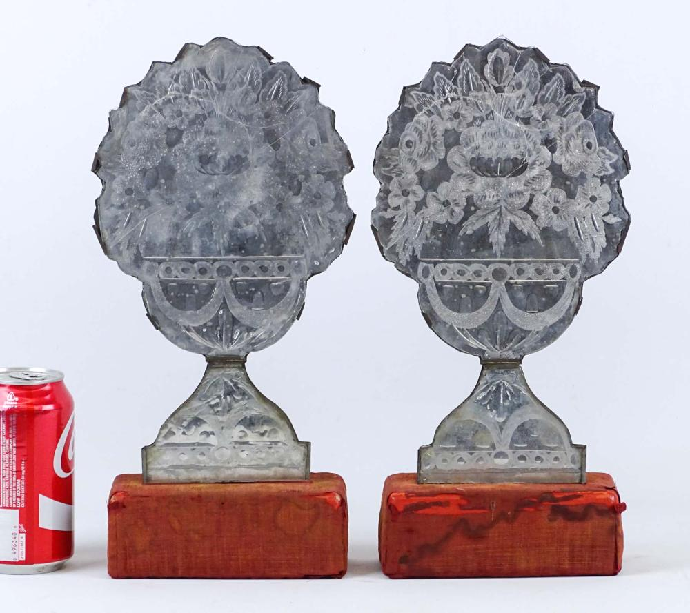 Pair Early Reflector Sconce Mantel Ornaments