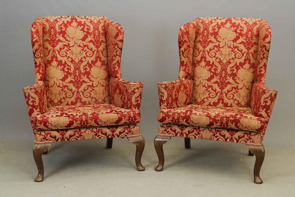 Pair English Queen Anne Style Wing Chairs