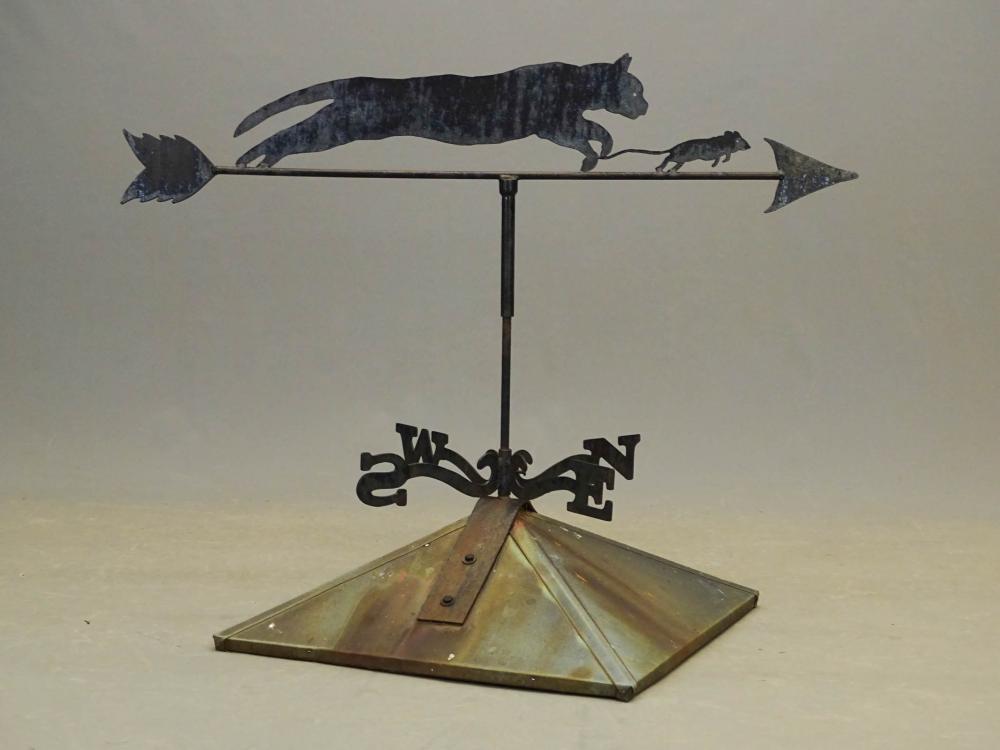Sheet Metal Cat On Cupola Weathervane