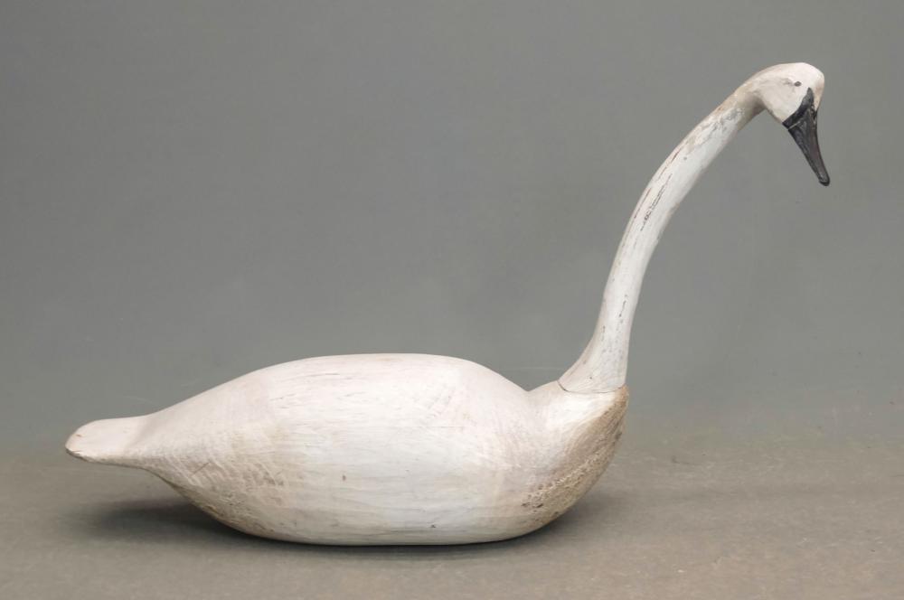 Folk Art Carved Wooden Swan