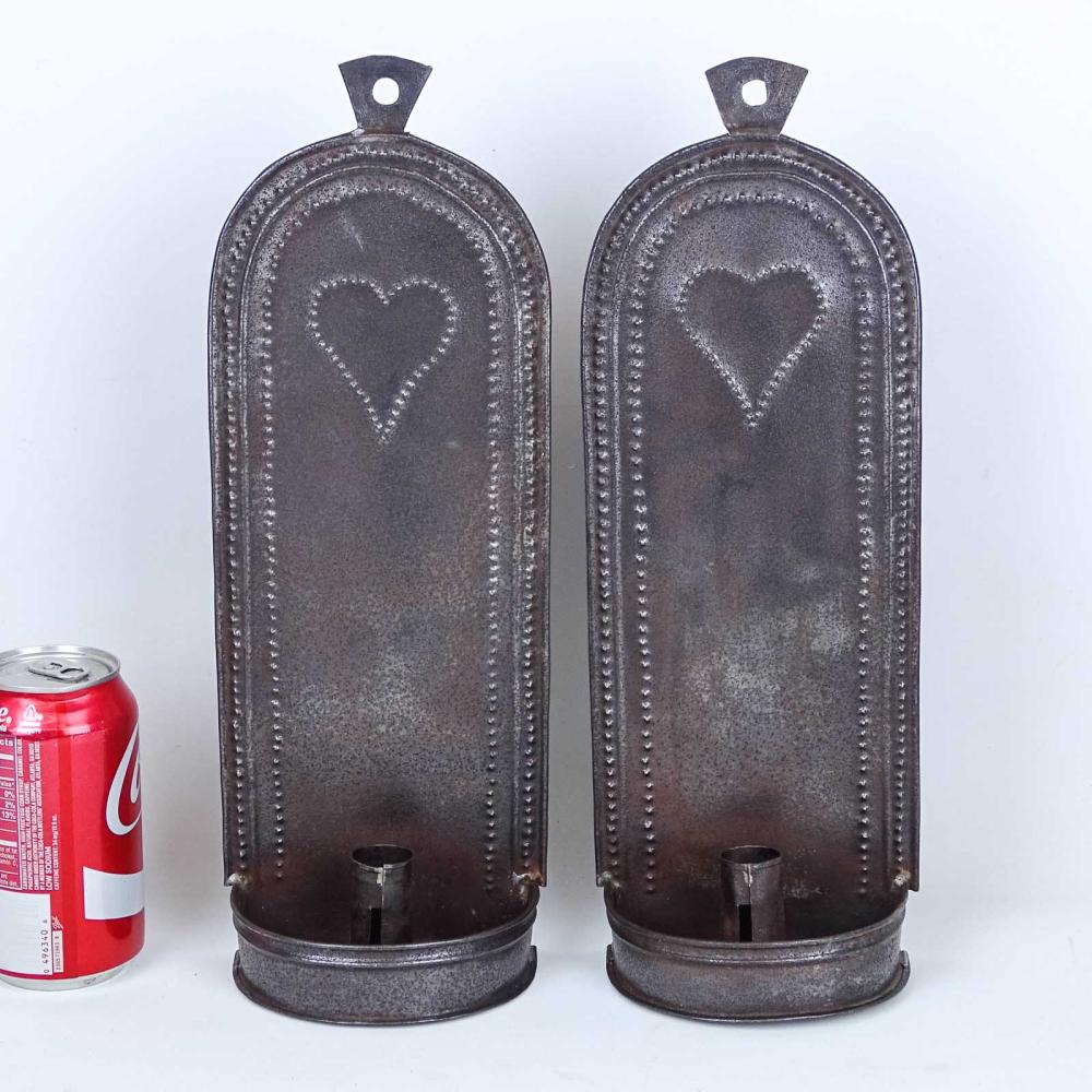 Pair Heart Decorated Sconces