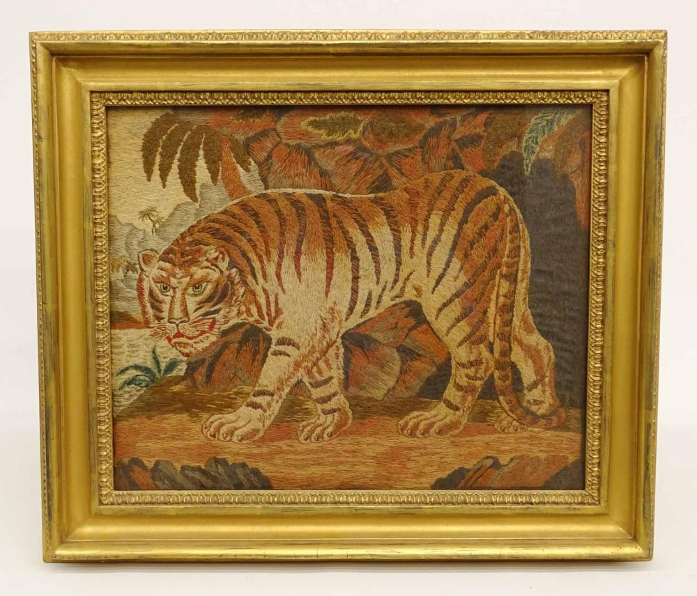 19th c. Needlework Of A Tiger