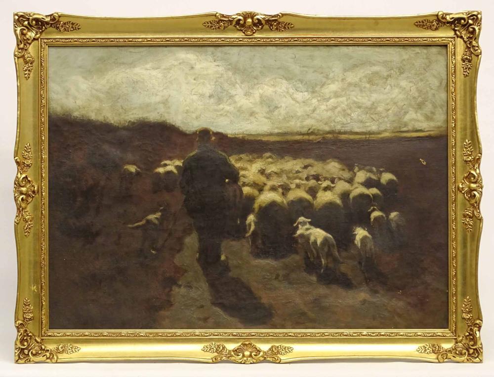 19th c. Barbizon School, Sheep In Landscape