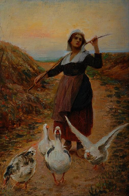 Farm Girl with Geese Oil on Canvas by J. Gies