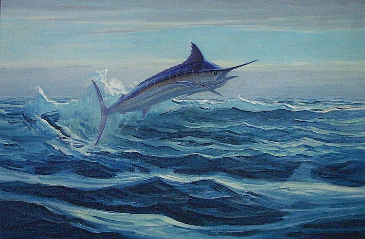 Striped Marlin Oil on Canvas by W. G. Lawrence