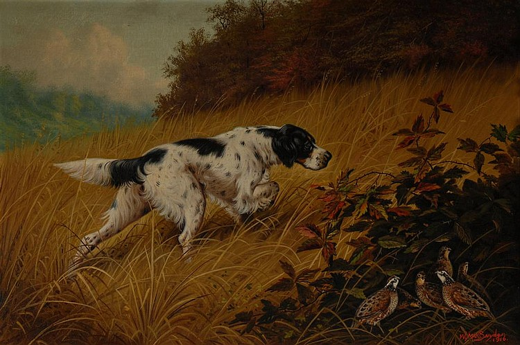 English Setter with Quail Oil on Canvas, Snyder