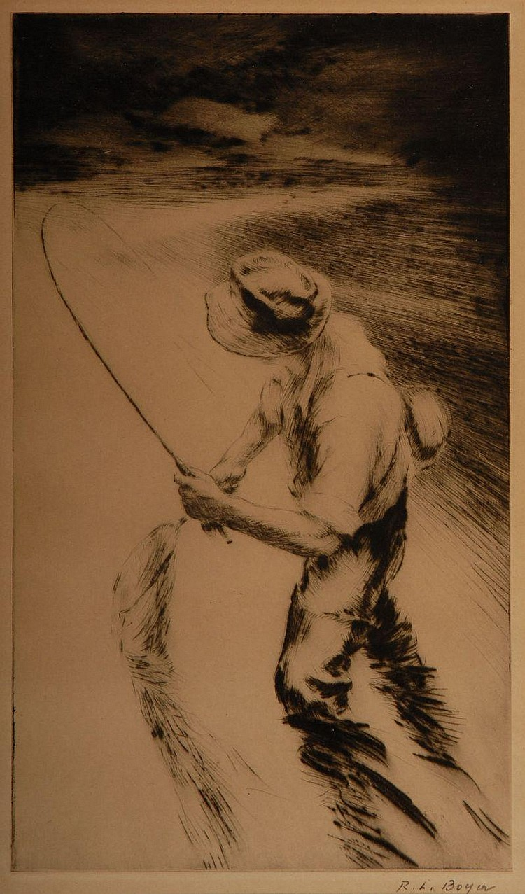 Two R. Boyer Etchings of Fly-Fishermen