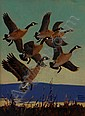 L.B. Hunt Oil Painting Canada Geese, Lynn Bogue Hunt, Click for value