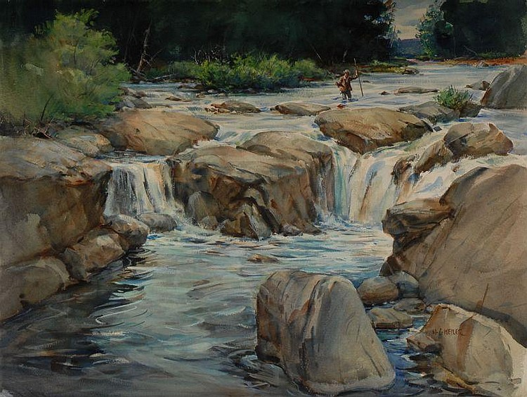 M. Weiler Watercolor Painting Trout Fishing