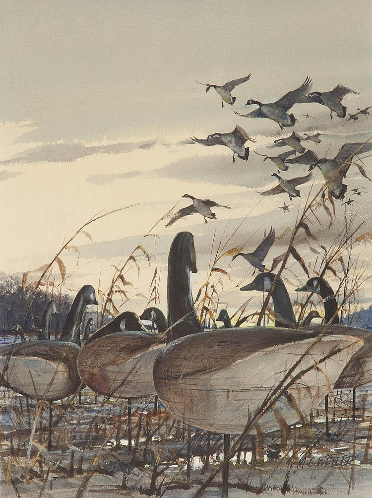 Milton Weiler (1910-1974) Geese Landing to Field Decoys, Watercolor, 17 by 11 inches