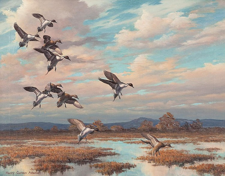 Harry Curieux Adamson (b. 1916) Winging In, Oil on canvas, 22 by 28 inches