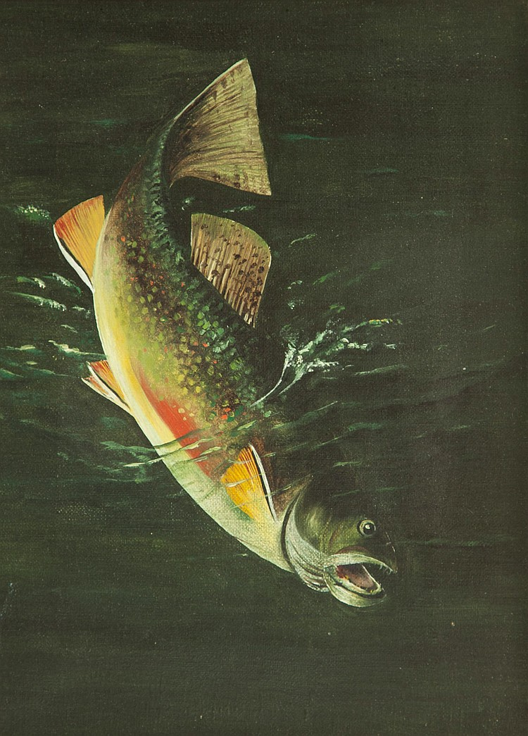 Harry A. Driscole (1861-1923) Trout, Oil on canvas, 12 by 9.25 inches