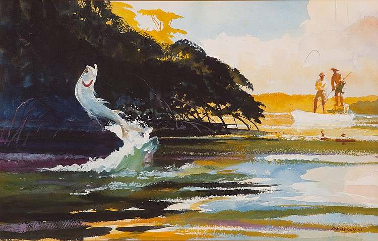 Chet Reneson (b. 1934) Tarpon Rising, Watercolor, 17 by 27 inches