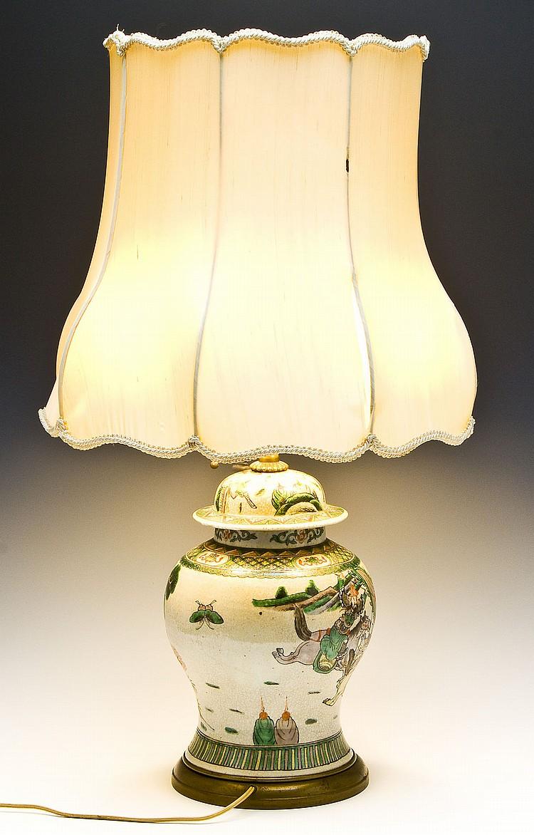 chinese famille verte ginger jar lamp. Black Bedroom Furniture Sets. Home Design Ideas
