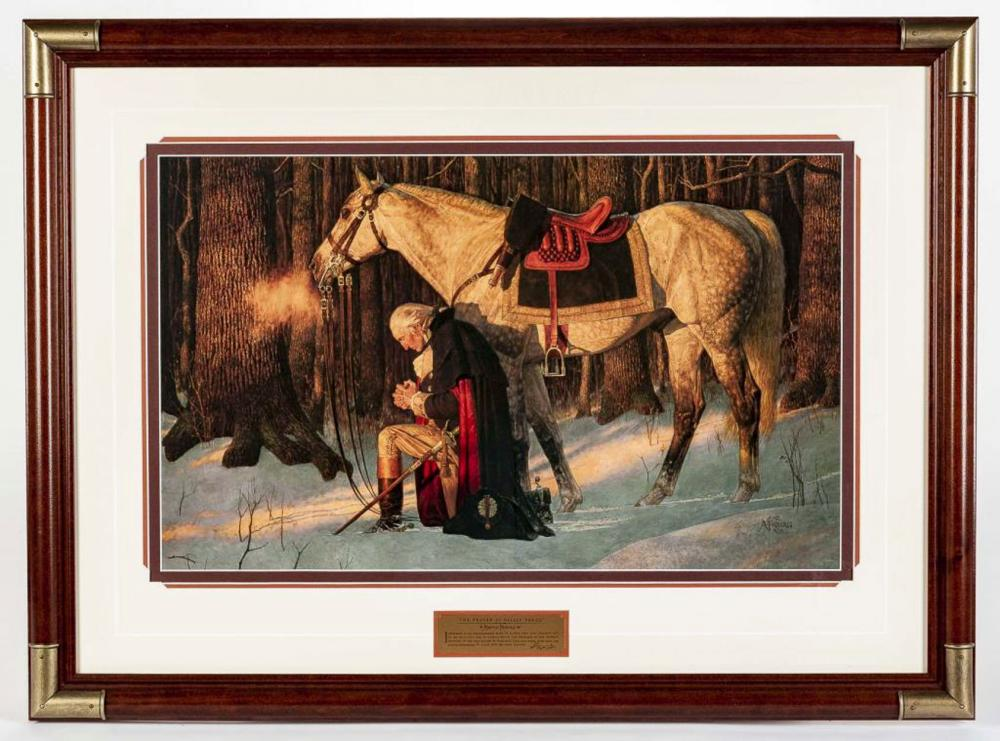 "Signed Print of /""George Washington Praying at Valley Forge/"""