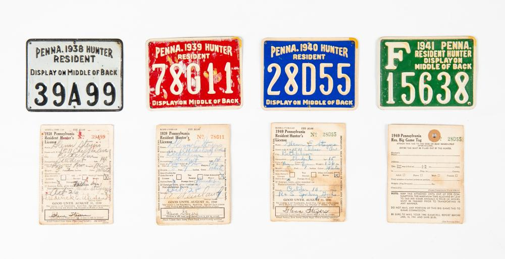 Lot 236: Collection of 4 Vintage PA Hunting Licenses
