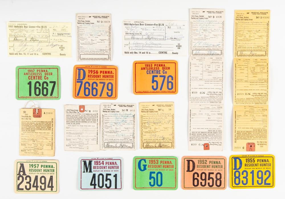 Collection of 8 Vintage PA Hunting Licenses