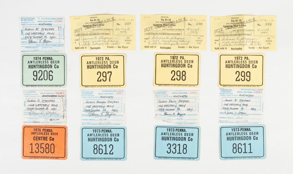 Lot 252: Collection of 8 Vintage PA Hunting Licenses