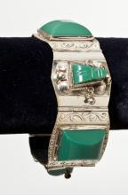 Mexican Silver & Green Onyx Bracelet
