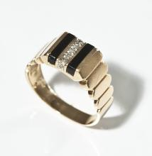 Men's 14K Yellow Gold, Onyx & Diamond Ring