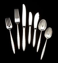 13 Pieces of Lunt Lace Point Sterling Flatware