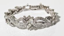 14K White Gold & 3.48 CTW Diamond Bracelet