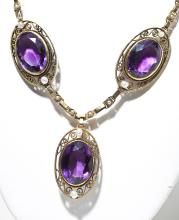 Victorian 14K Large Amethyst & Pearl Necklace