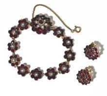 Antique Garnet Bracelet & Earrings