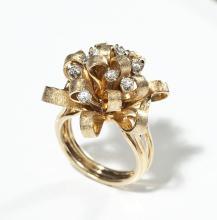 Antique 14K & Diamond Bow Cluster Ring