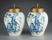 Pair of Early Delft Tobacco Jars Marked DWS
