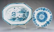 2 Pcs Delft Blue & White Pottery Incl Platter
