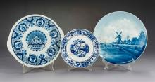 3 Pcs Delft Blue & White Pottery Incl Cake Plate
