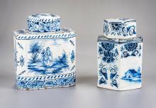2 Delft Tea Caddies Incl Greek A