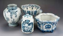 4 Pcs Delft Blue & White Pottery Incl Planter