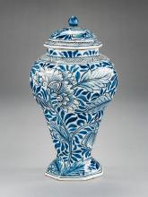 Delft Octagonal Covered Vase Marked JM