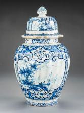 Delft Covered Vase Marked IG