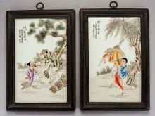 2 Chinese Enamel on Porcelain Plaques