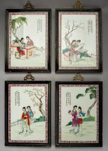 4 Chinese Porcelain Four Seasons Plaques